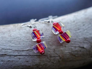 Red and Blue Glass Lampwork Bead Earrings | Dangle with silver accents