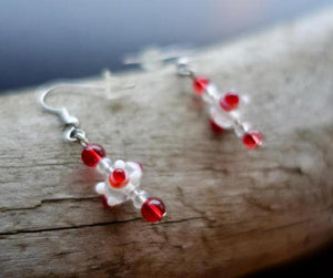 Red and White Glass Lampwork Bead Earrings | Polka Dot Dangle with Silver Accents