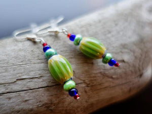 Tropical Green and Blue Glass Lampwork Bead Earrings | Dangle with silver accents