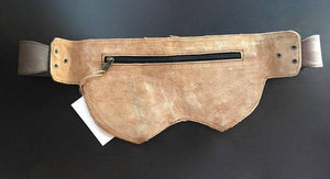 Leather Utility Belt | Distressed Brown Double Leaf, 3 Pocket | travel, cosplay, festival | Fits iPhone