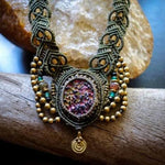 Rainbow Titanium Druzy Macrame Necklace | Ziba Design | Stone of Courage | Micro-Macrame | Unisex, Healing Crystal Jewelry