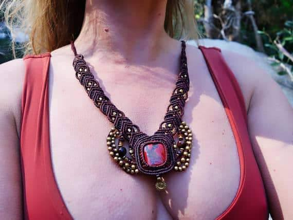 Crystallized Red Jasper Macrame Necklace | Ziba Design | Stone of Relaxation | Micro-Macrame | Healing Crystal Jewelry
