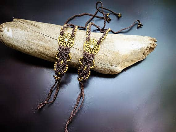 Flower Burst Macrame Barefoot Sandals | Pair, Brown with Moonstone | Micro Macrame, Stone | Finger Bracelet