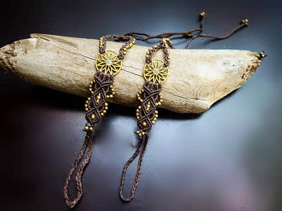 Flower Burst Macrame Barefoot Sandals | Pair, Brown with Quartz | Micro Macrame, Stone | Finger Bracelet