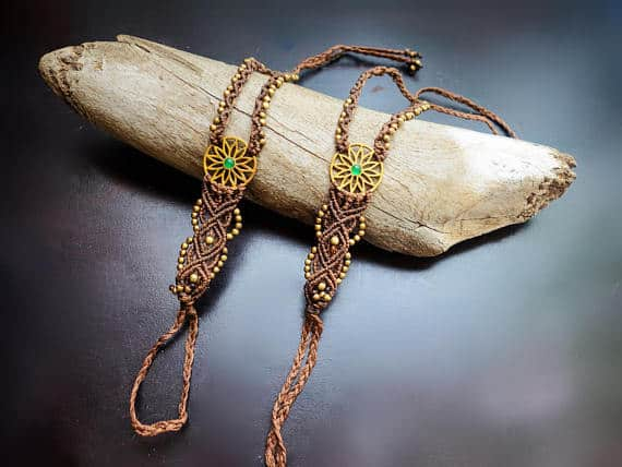 Flower Burst Macrame Barefoot Sandals | Pair, Brown with Green Aventurine | Micro Macrame, Stone | Finger Bracelet