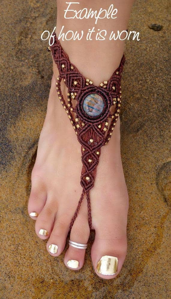 Flower Burst Macrame Barefoot Sandals | Pair, Pink with Turquoise | Micro Macrame, Stone | Finger Bracelet