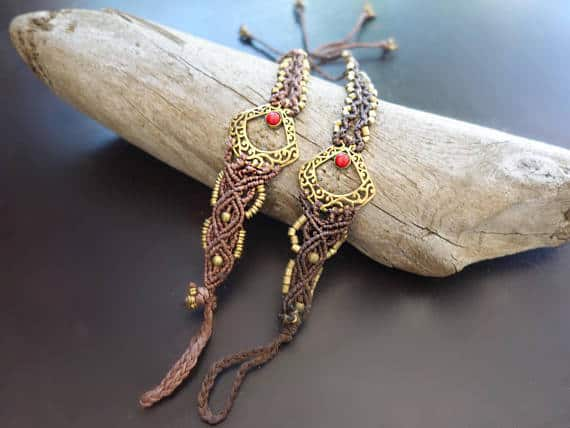 Third Eye Macrame Barefoot Sandals | Pair, Brown with Synthetic Red Coral | Micro Macrame, Stone | Finger Bracelet