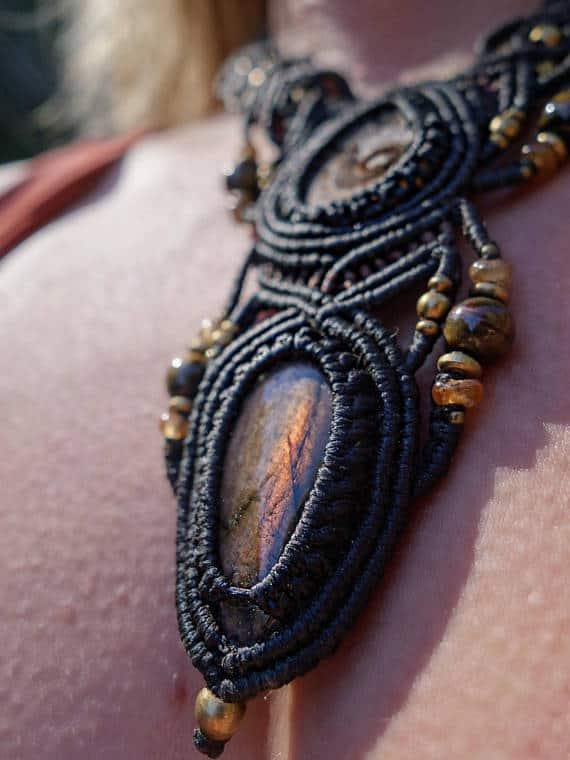 Ammonite Fossil and Labradorite Macrame Necklace | Double Pendant | Micro-Macrame | Unisex, Healing Crystal Jewelry