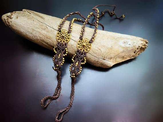 Flower Burst Macrame Barefoot Sandals | Pair, Brown with Tiger Eye | Micro Macrame, Stone | Finger Bracelet