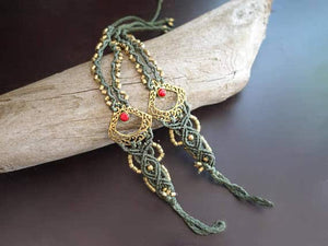 Third Eye Macrame Barefoot Sandals | Pair, Green with Faux Red Coral | Micro Macrame, Stone | Finger Bracelet