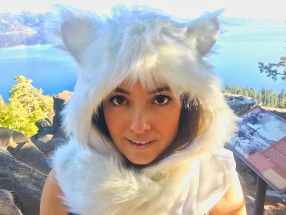 Faux Fur Animal Hood | White Spirit Animal | FestieBeast Line