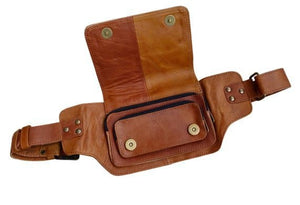 Leather Festival Belt | Brown, 3 pocket | Classic Style