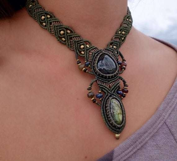Rainbow Obsidian and Labradorite Macrame Necklace | Double Pendant | Micro-Macrame