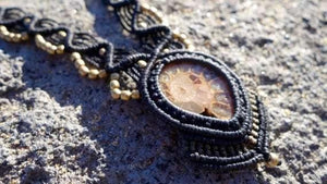 Ammonite Fossil Macrame Necklace | Temple Design