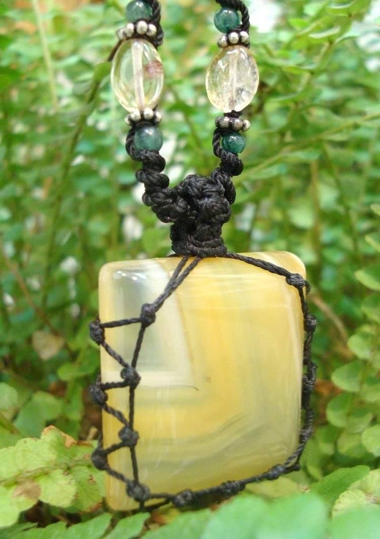 organic CHALCEDONY macrame Necklace – Your Stone for HARMONY – metaphysical healing crystal
