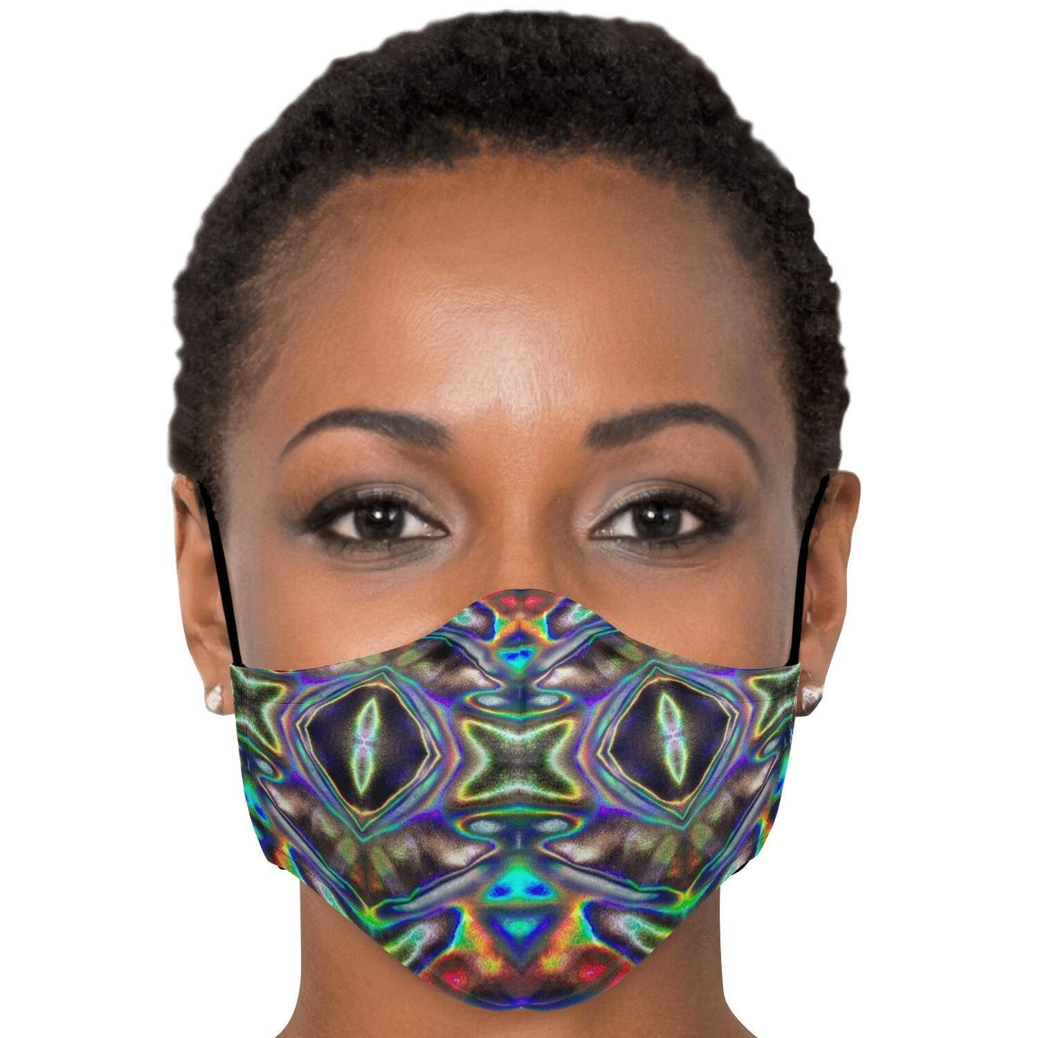 Same Day Shipping | Holographic Print FACE MASK | 2pcs PM 2.5 Carbon Filters Included | Adult | Washable, Nose Clip, Adjustable Ear Straps