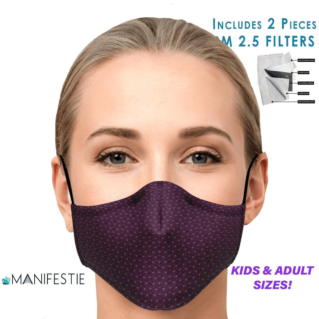 SAME DAY SHIPPING | Ruby Sacred Connections Face Mask | 2pcs pm 2.5 Carbon Filters Included | Adult | Washable, Nose Clip, Adjustable Straps - Manifestie