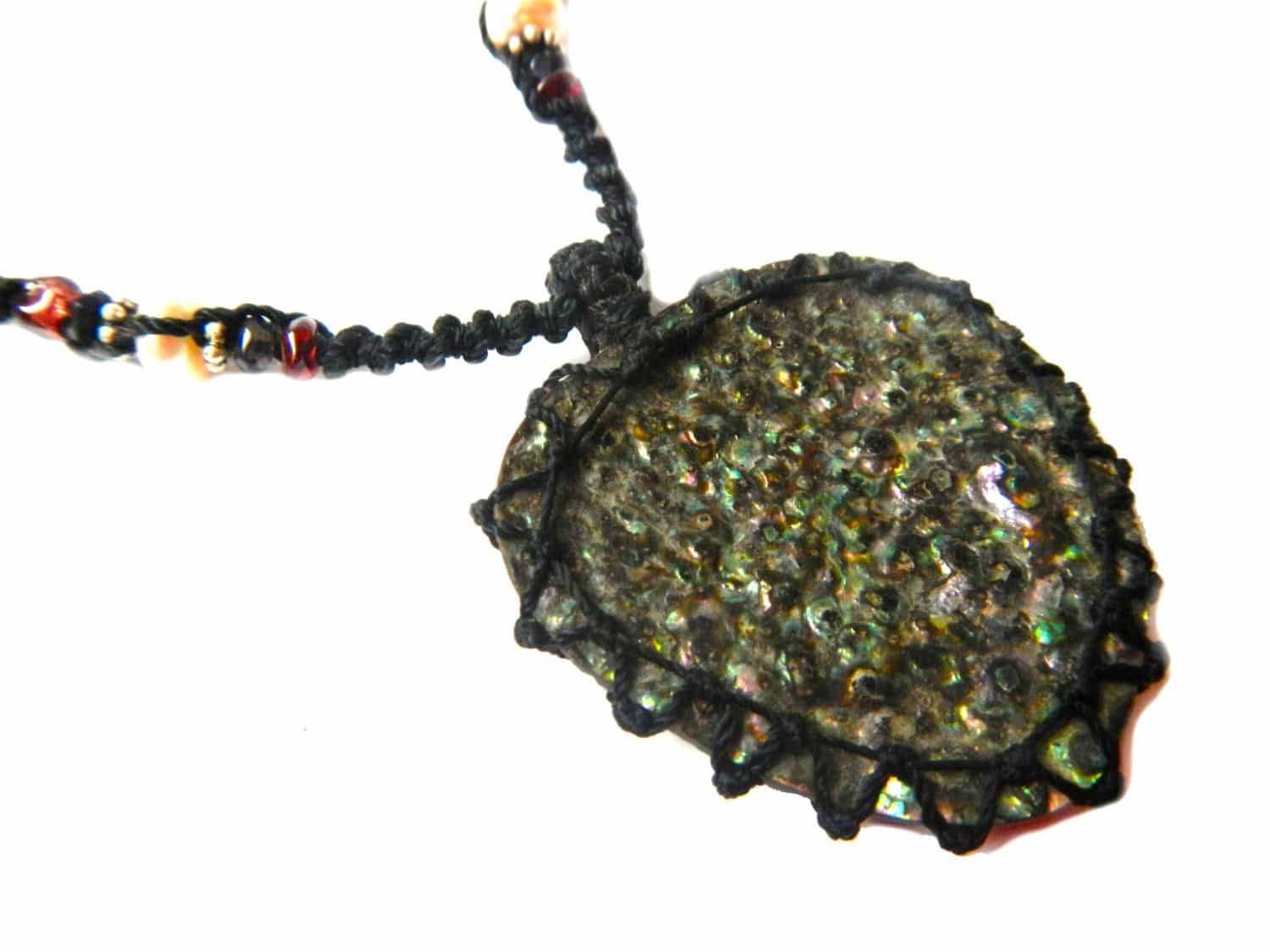organic abalone seashell macrame Necklace – Your vessel for cleansing stone
