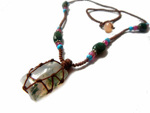 organic MOSS AGATE macrame necklace – Your Stone for Prosperity- bohemian healing crystal