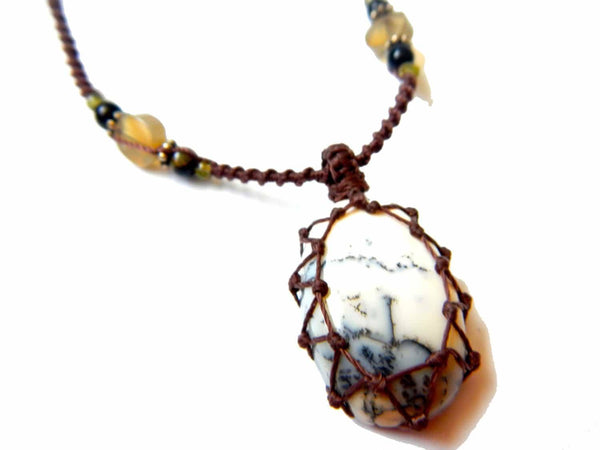 Tree Agate macrame Necklace – Your Stone For Abundance- Bohemian healing crystal