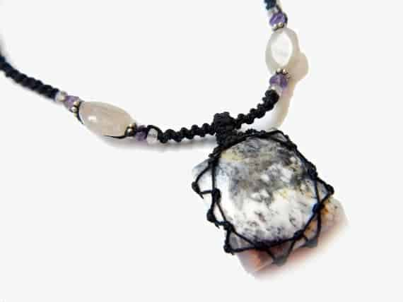 square Tree Agate macrame Necklace – Your Stone For Abundance- Bohemian healing crystal