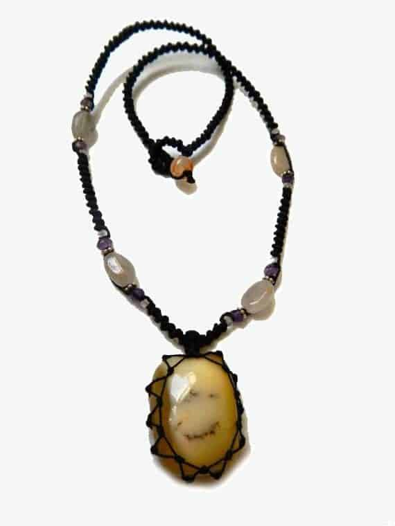 MILK AGATE macrame Necklace – Your Stone for Protection