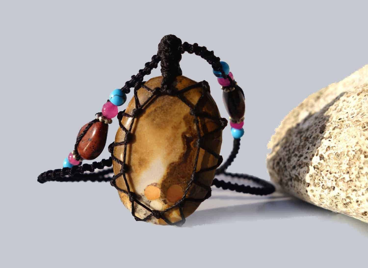 Organic Jasper Macrame Necklace | Stone for Relaxation | Unisex Healing Crystal