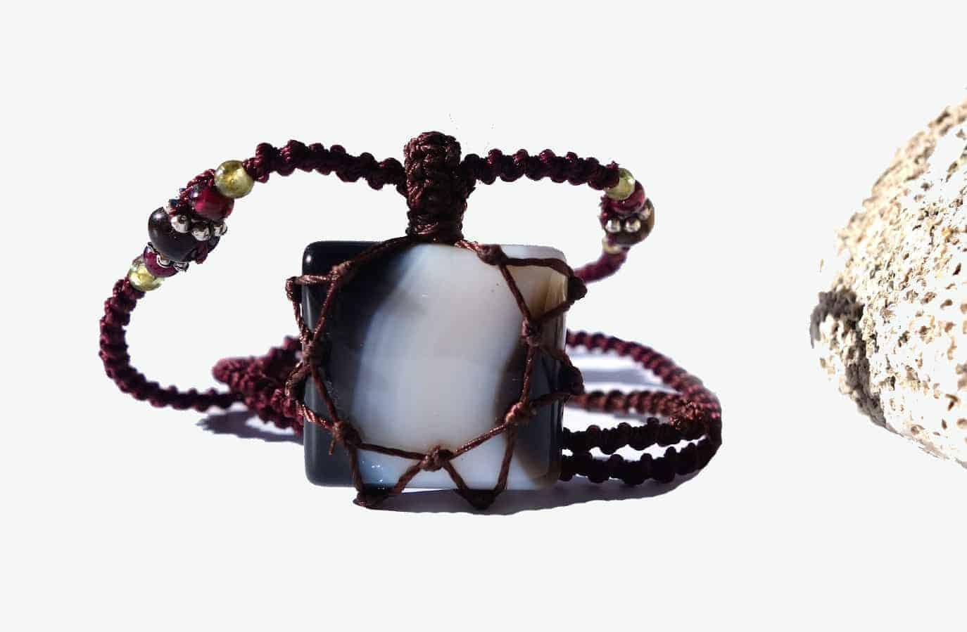 BLACK and White ONYX Macrame Necklace | Stone for Strength | Unisex Healing Crystal - Manifestie