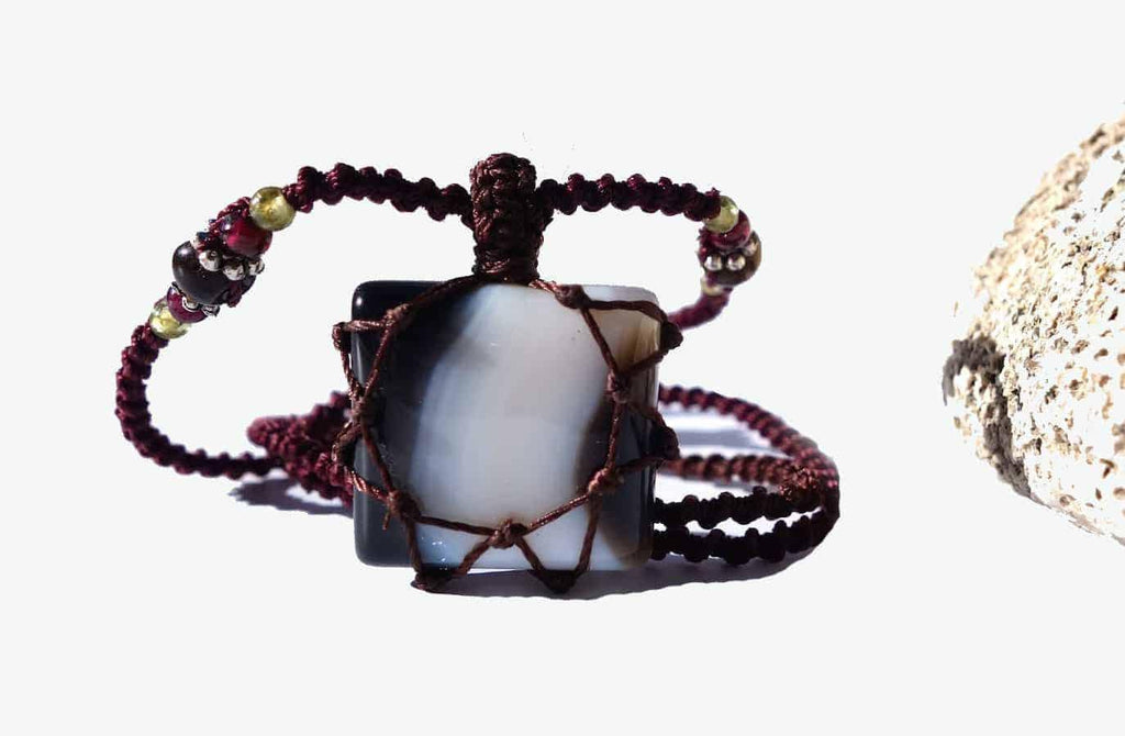 BLACK and White ONYX Macrame Necklace | Stone for Strength | Unisex Healing Crystal