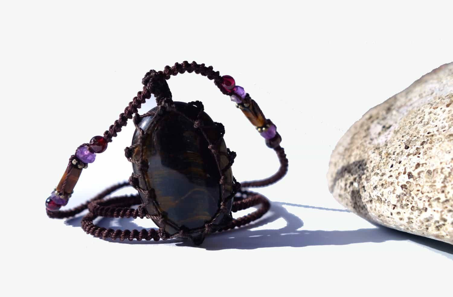 Tiger Eye Macrame Necklace | Stone for PROTECTION | Unisex Healing Crystal