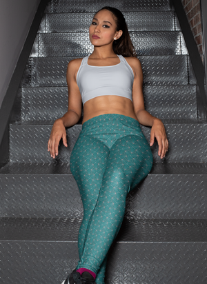 Turquoise Sacred Connections Premium Yoga Leggings