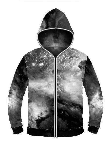 Black & White Cosmos Light Up Hoodie - Manifestie