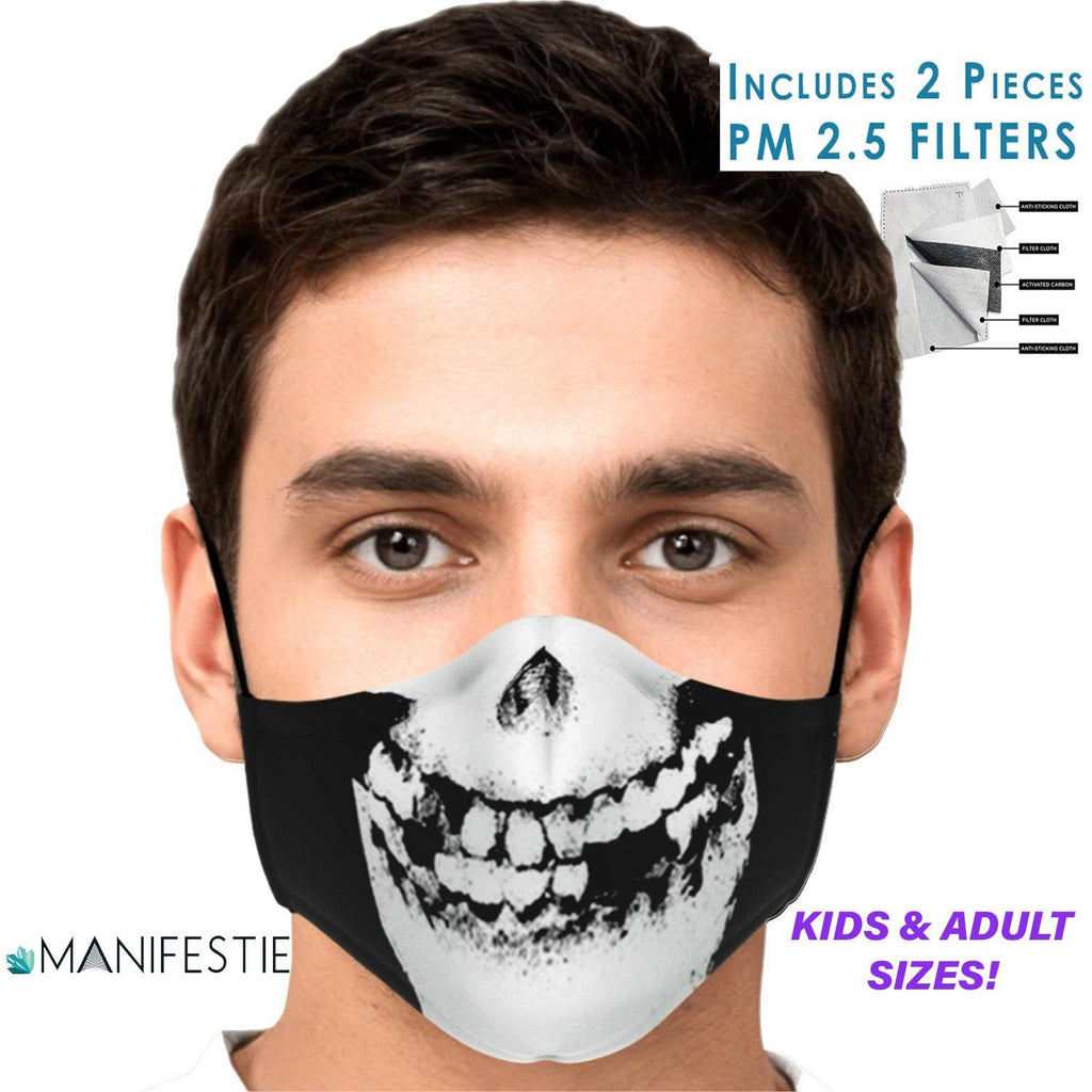 Misfits Skull FACE MASK with 2pcs PM 2.5 carbon filters - Manifestie