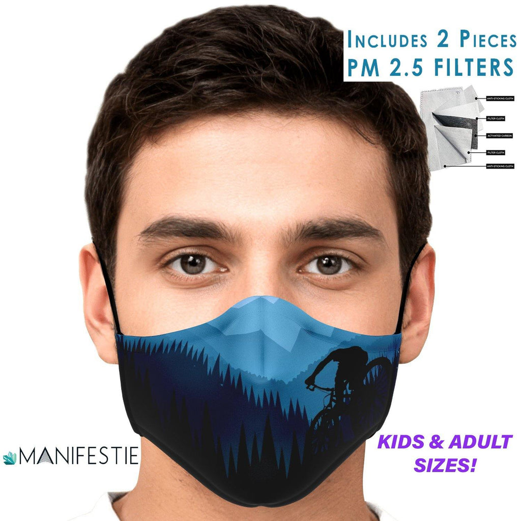 Mountain Bike Thrills Premium FACE MASK with 2pcs PM 2.5 carbon filters - Manifestie
