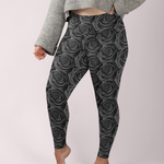 Black Roses Premium Plus Size Yoga Leggings
