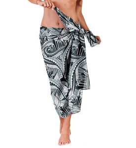 Black Art Deco Chiffon Beach Cover Up | Sarong | Pareo