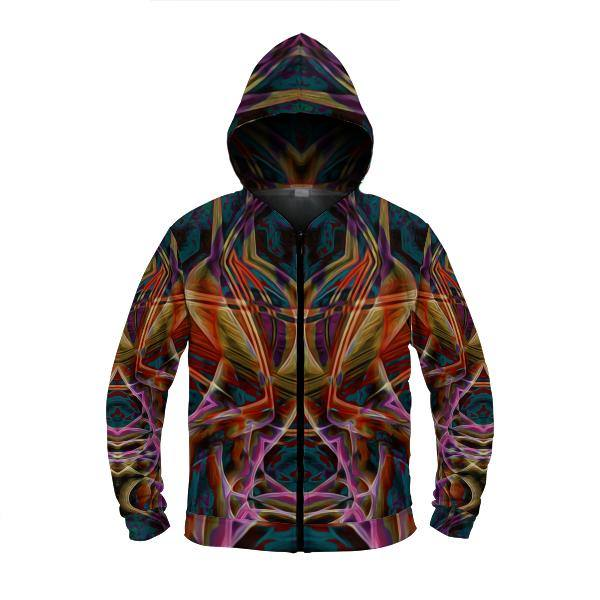 MIDNIGHT GAZE by DAVID FETTNER ZIP UP HOODIE