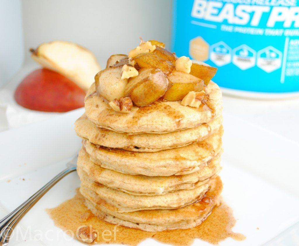Maple Ginger Pear Protein Pancakes
