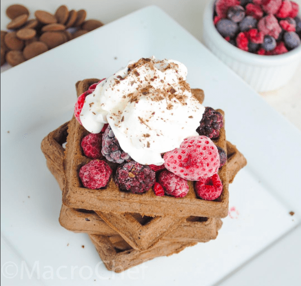 Chocolate Protein Waffles Topped with Mixed Berries
