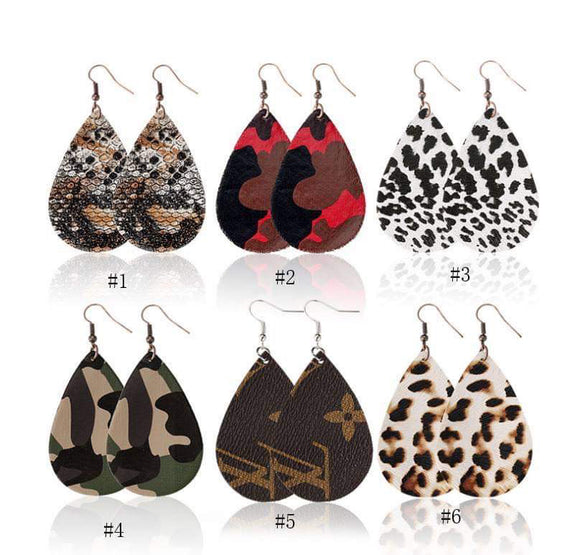 Single Layer Faux Leather Earrings