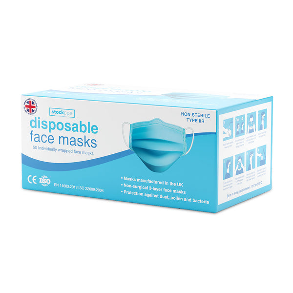 Stock PPE 3 Ply Disposable Face Masks