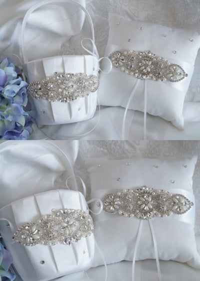 6dc2cf073 Ariana Flower Girl Basket, Ring Bearer Pillow, Wedding Basket and Pillow Set