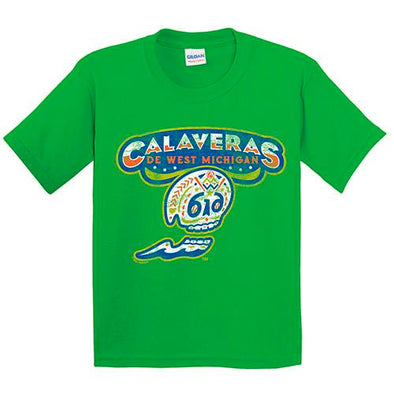 West Michigan Whitecaps Calaveras Youth Green Tee
