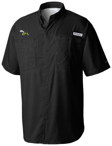 Greensboro Grasshoppers Columbia Tamiami PFG Fishing Shirt - Black