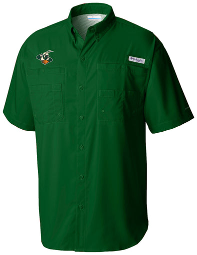 Greensboro Grasshoppers Columbia Tamiami PFG Fishing Shirt - Green