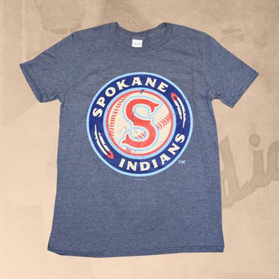 Spokane Indians Heather Navy Logo Tee