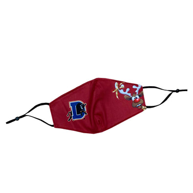 Durham Bulls Youth Red Reindeer Face Mask