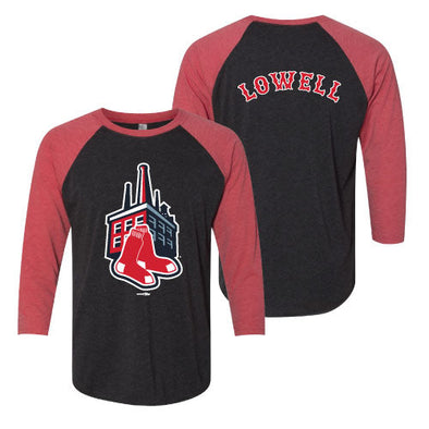 Lowell Spinners Black/Red Mill Sox Raglan Tee