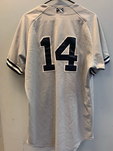 Staten Island Yankees Game Used Road Jersey #14 (Size 46) with George M. Steinbrenner Patch