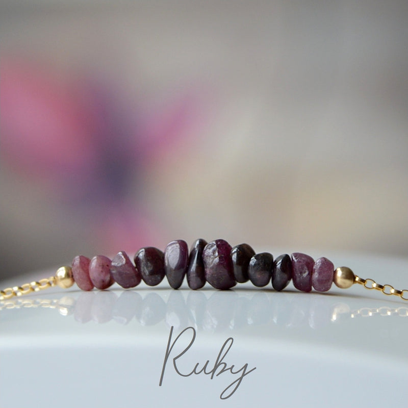 Raw Ruby Bracelet, July Birthstone